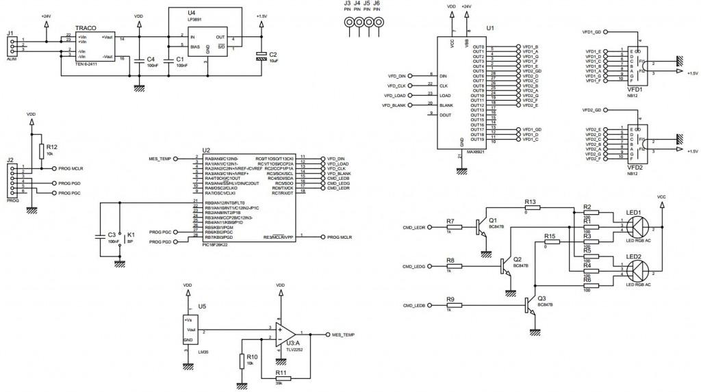 Thermometre VFD - Schéma
